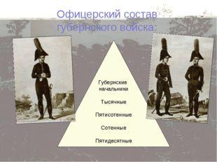 Офицерский состав губернского войска: Губернские начальники Тысячные Пятисоте