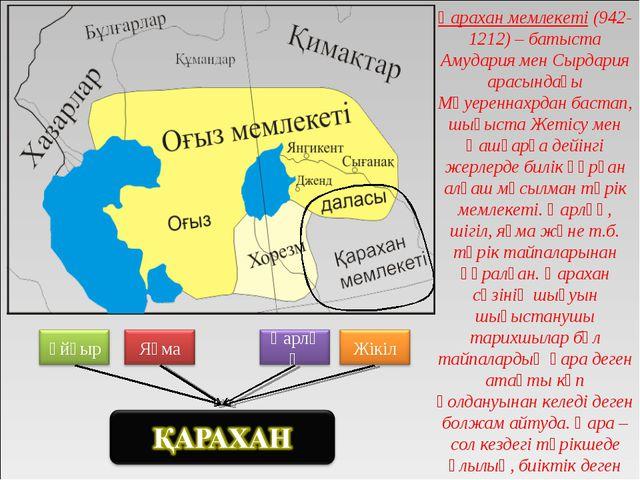 Қарахан мемлекеті (942-1212) – батыста Амудария мен Сырдария арасындағы Мәуер...