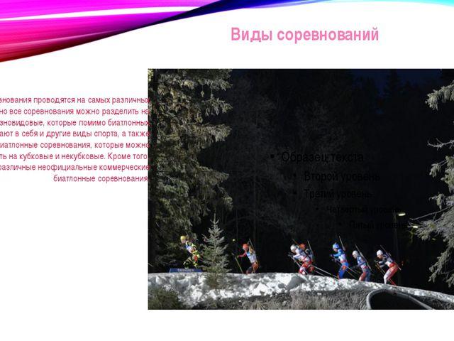 Виды соревнований Биатлонные соревнования проводятся на самых различных уровн...