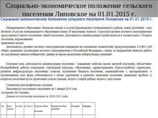 Социально-экономическое положение сельского поселения Липовское на 01.01.2015