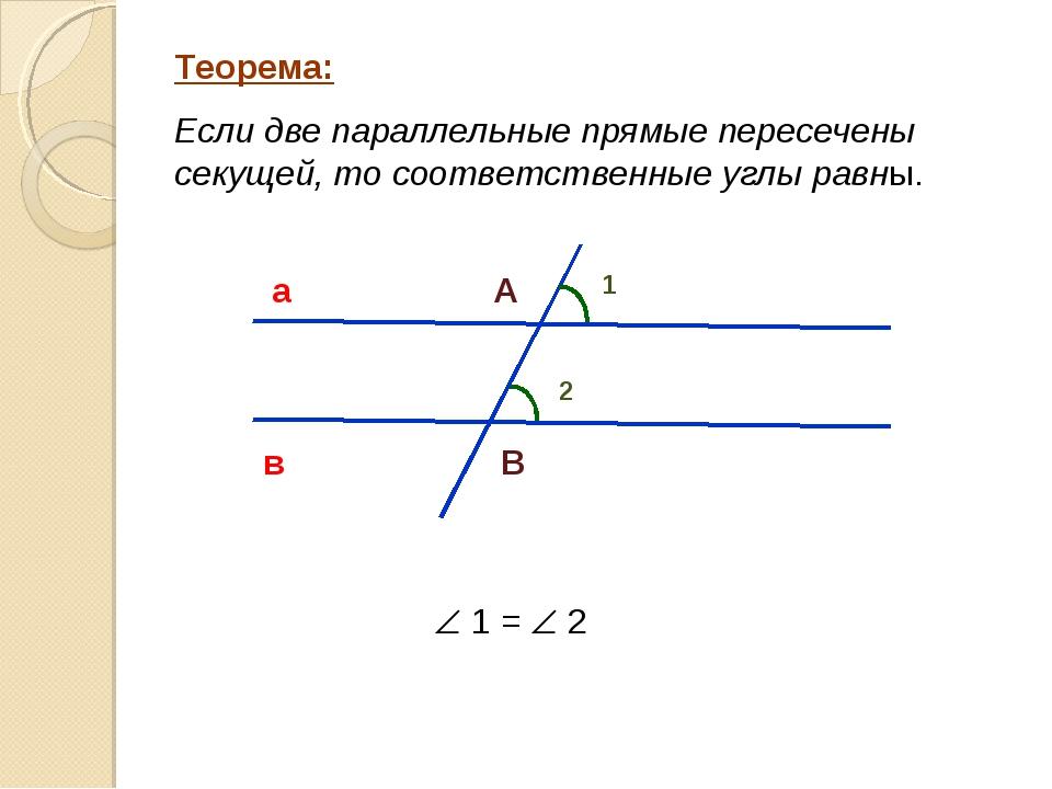 Теорема: Если две параллельные прямые пересечены секущей, то соответственные...