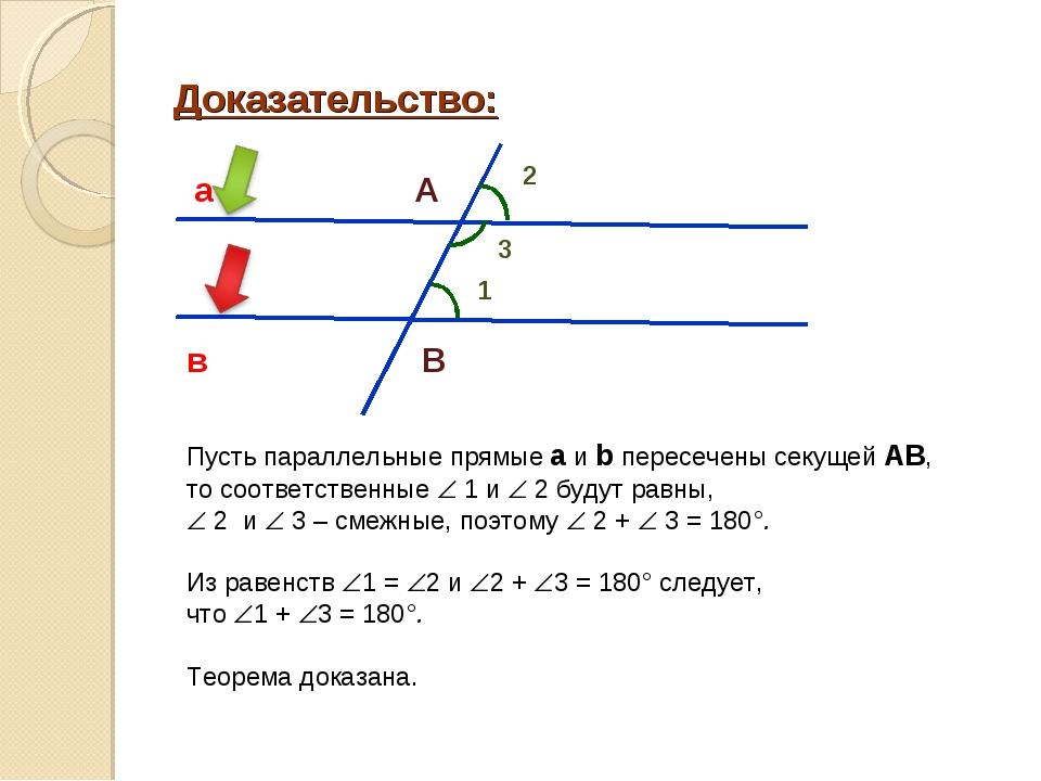 Доказательство: Пусть параллельные прямые а и b пересечены секущей АВ, то соо...