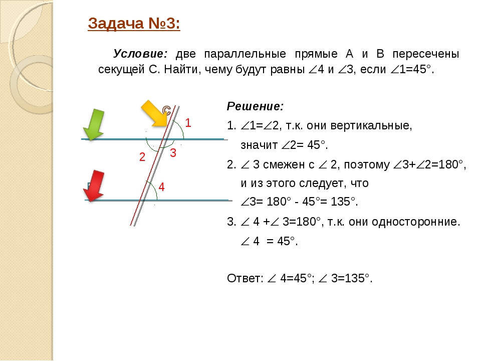 Решение: 1. 1=2, т.к. они вертикальные, значит 2= 45°. 2.  3 смежен с  2...