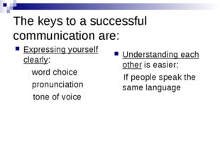 The keys to a successful communication are: Expressing yourself clearly: word
