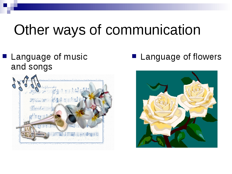Other ways of communication Language of music and songs Language of flowers