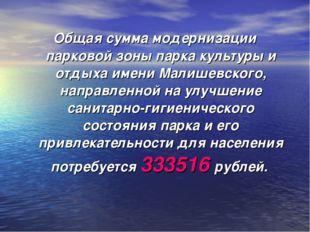 Общая сумма модернизации парковой зоны парка культуры и отдыха имени Малишевс