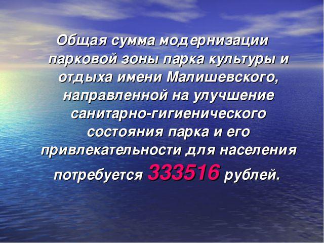 Общая сумма модернизации парковой зоны парка культуры и отдыха имени Малишевс...