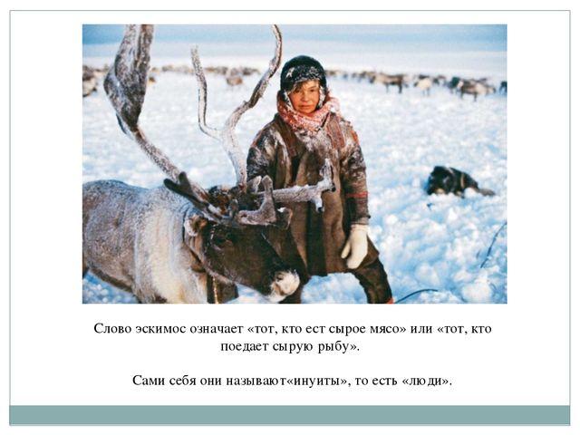 Слово эскимос означает «тот, кто ест сырое мясо» или «тот, кто поедает сырую...