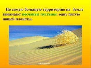 Но самую большую территорию на Земле занимают песчаные пустыни: одну пятую н