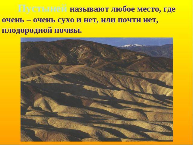 Пустыней называют любое место, где очень – очень сухо и нет, или почти нет,...