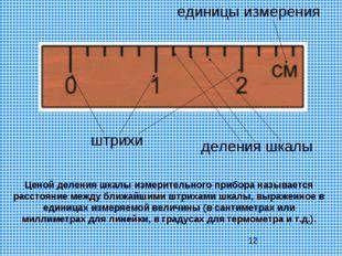 единицы измерения штрихи деления шкалы Ценой деления шкалы измерительного при