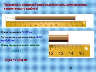 Погрешность измерений равна половине цены деления шкалы измерительного прибор