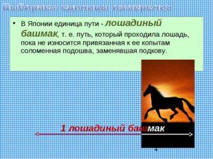 В Японии единица пути - лошадиный башмак, т. е. путь, который проходила лошад