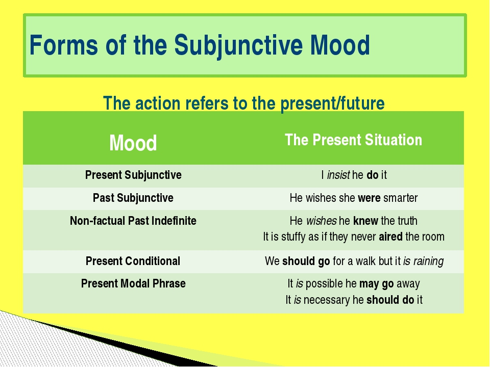 Forms of the Subjunctive Mood The action refers to the present/future Mood Th...