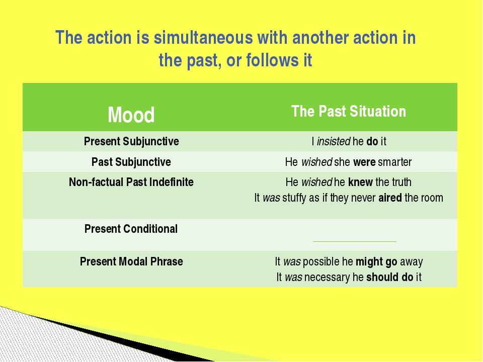 The action is simultaneous with another action in the past, or follows it Moo...