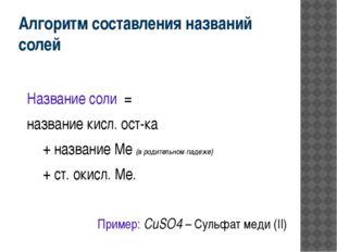 Алгоритм составления названий солей Название соли = название кисл. ост-ка +