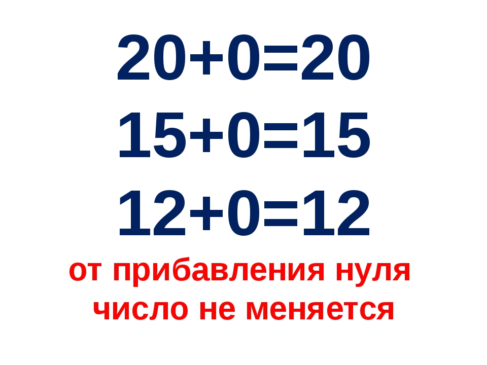 20+0=20 15+0=15 12+0=12 от прибавления нуля число не меняется