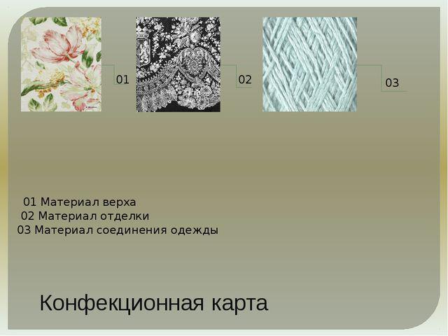 Конфекционная карта 01 02 03 01 Материал верха 02 Материал отделки 03 Матери...