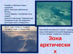 Климат в Арктике очень суровый, дуют сильные ураганные ветры, часты бураны. П