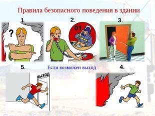 Правила безопасного поведения в здании Если возможен выход 1. 2. 3. 4. 5.