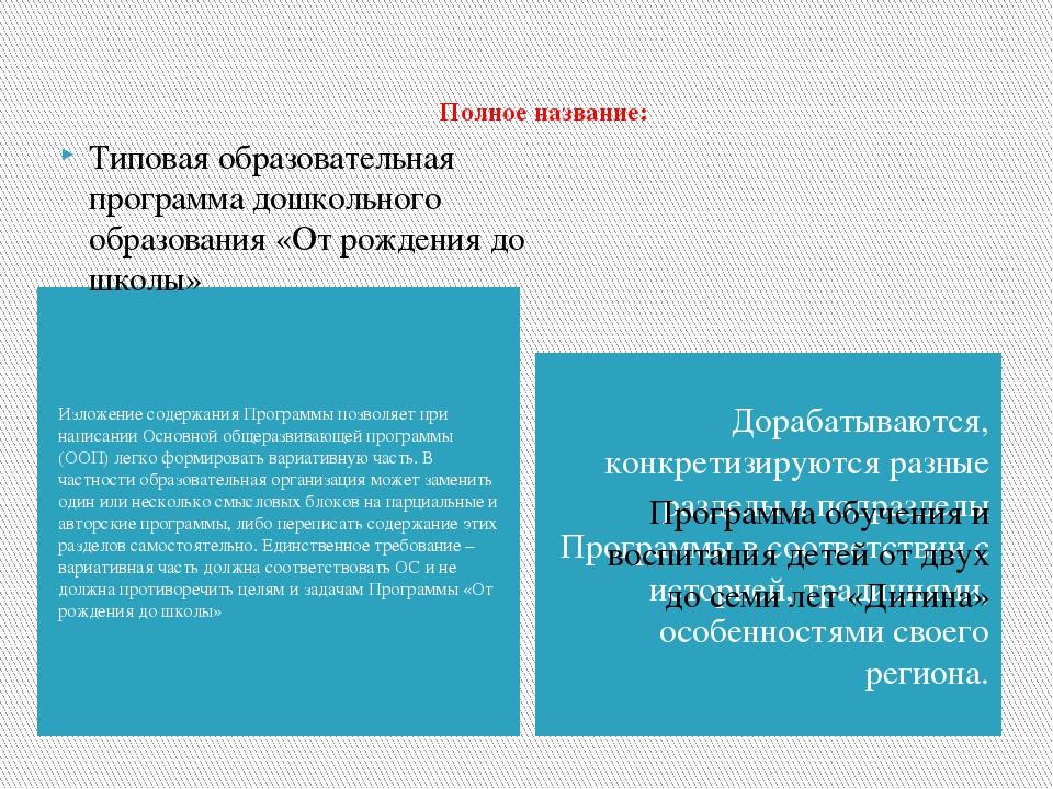 Полное название: Изложение содержания Программы позволяет при написании Основ...