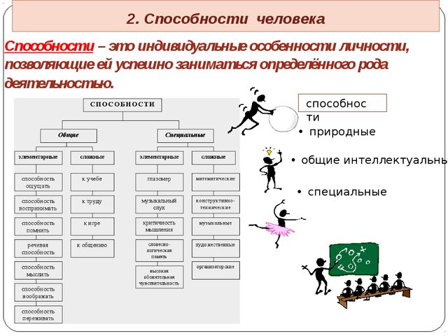 2. Способности человека Способности – это индивидуальные особенности личност...