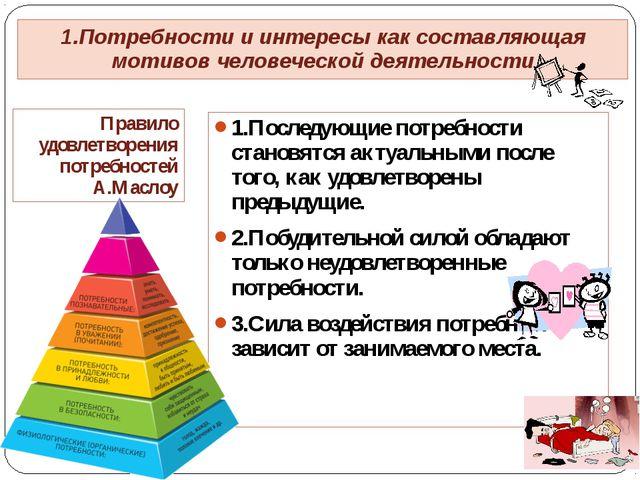 Правило удовлетворения потребностей А.Маслоу 1.Последующие потребности станов...