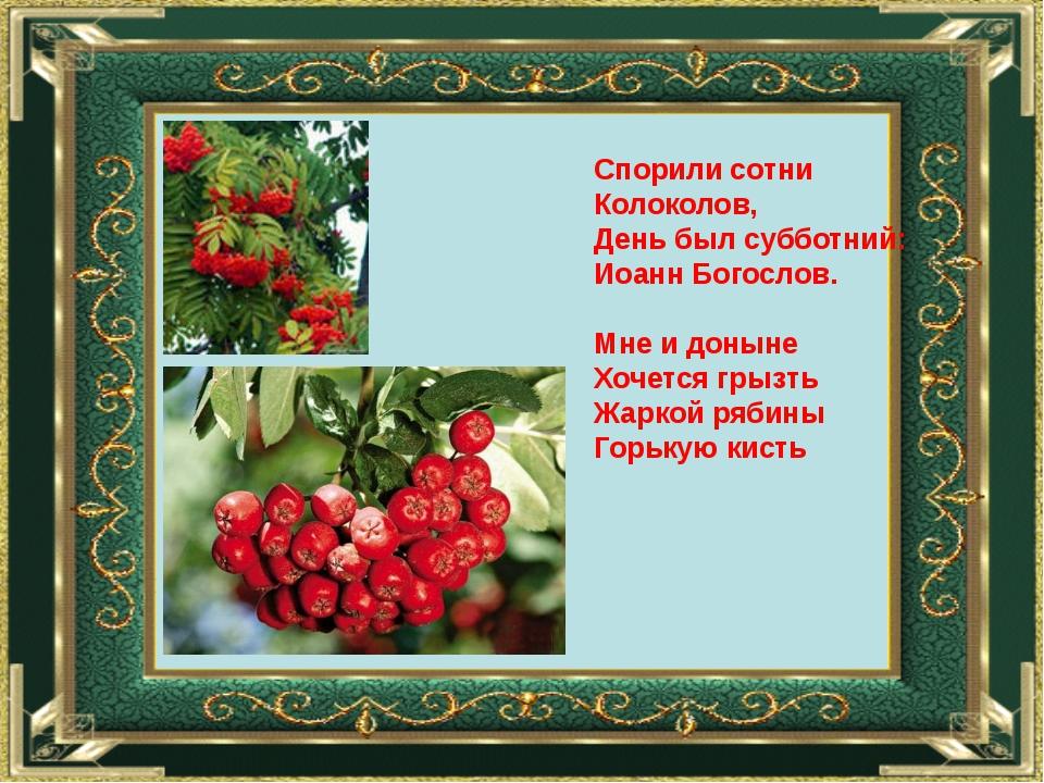 Спорили сотни Колоколов, День был субботний: Иоанн Богослов. Мне и доныне Хоч...