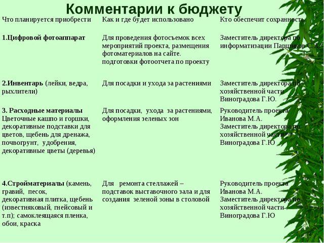 Комментарии к бюджету Что планируется приобрестиКак и где будет использовано...