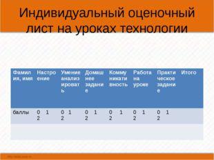 Индивидуальный оценочный лист на уроках технологии Фамилия, имя Настроение Ум