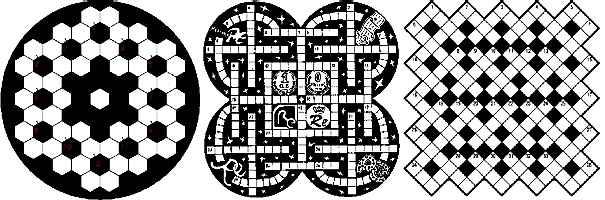 Примеры фигурных сеток классических кроссвордов