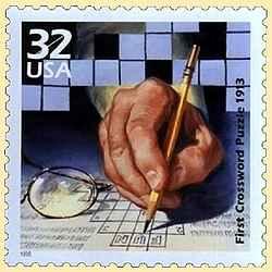 Почтовая марка, посвященная первому кроссворду