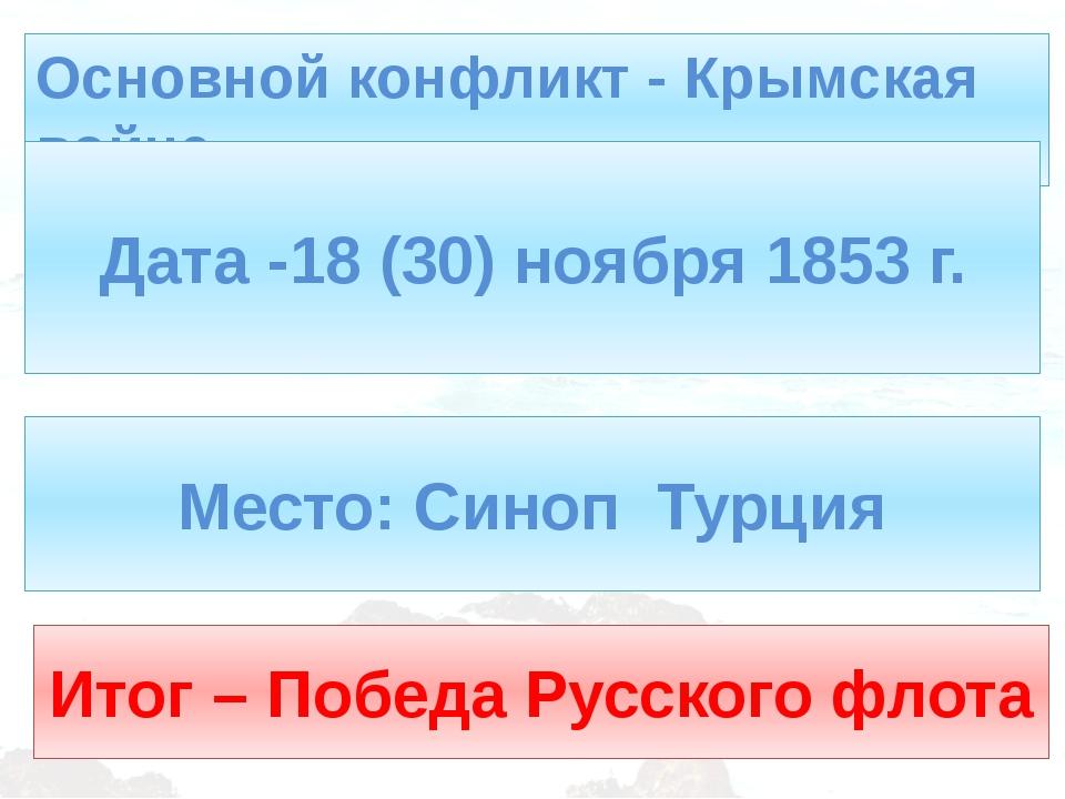 Основной конфликт - Крымская война Дата -18 (30) ноября 1853 г. Место: Синоп...