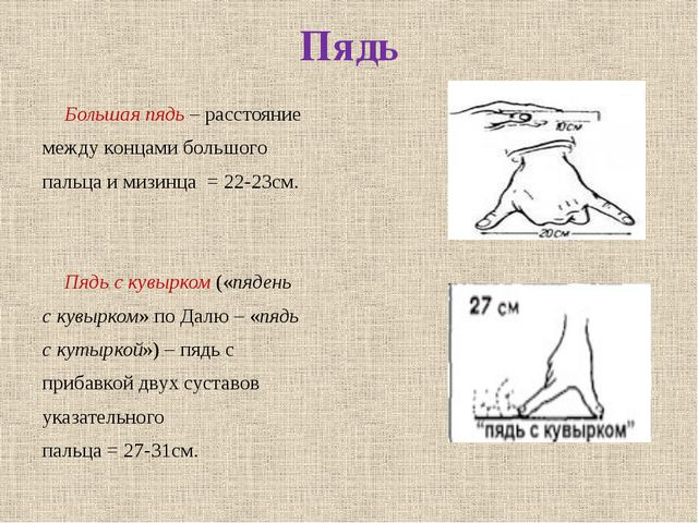 Пядь Большая пядь – расстояние между концами большого пальца и мизинца = 22-...