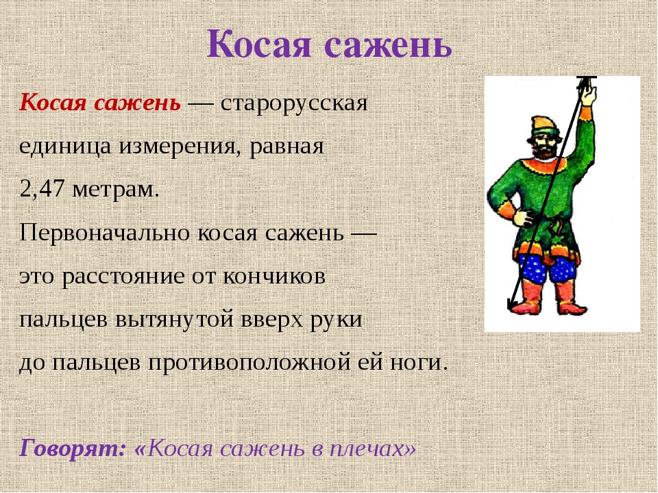 Косая сажень Косая сажень — старорусская единица измерения, равная 2,47 метра...