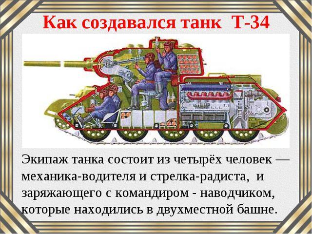 Как создавался танк Т-34 Экипаж танка состоит из четырёх человек — механика-в...