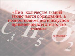 «Не в количестве знаний заключается образование, а полном понимании и искусно