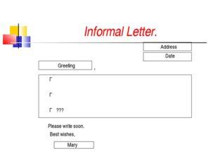 Informal Letter. Address Date Greeting , Г Г Г ??? Please write soon. Best wi
