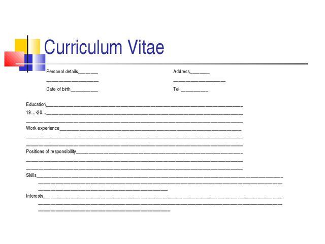 Curriculum Vitae Personal details________ _____________________ Date of birth...