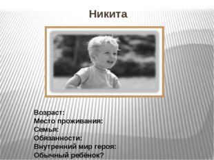 Никита Возраст: Место проживания: Семья: Обязанности: Внутренний мир героя: О