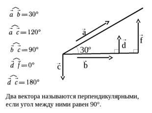 Два вектора называются перпендикулярными, если угол между ними равен 90°. b