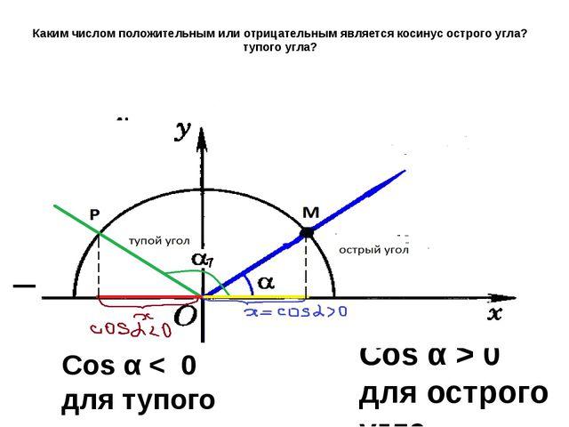 Каким числом положительным или отрицательным является косинус острого угла? т...