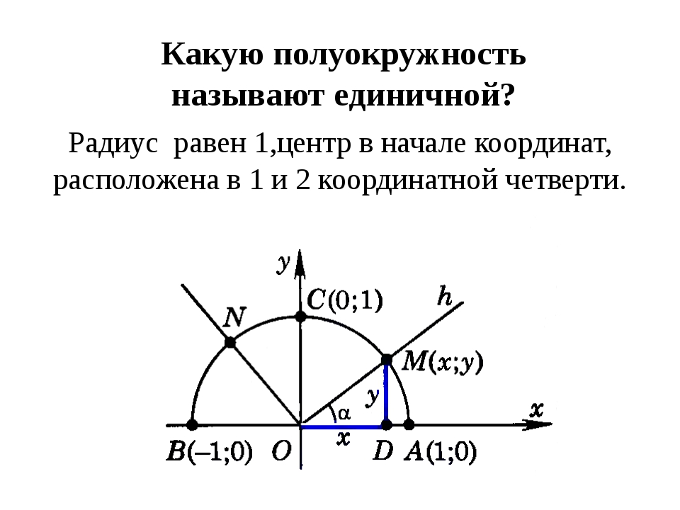 Какую полуокружность называют единичной? Радиус равен 1,центр в начале коорди...