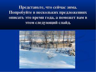 Представьте, что сейчас зима. Попробуйте в нескольких предложениях описать эт