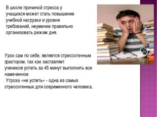В школе причиной стресса у учащихся может стать повышение учебной нагрузки и