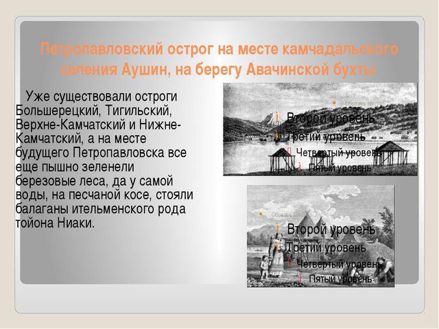 Петропавловский острог на месте камчадальского селения Аушин, на берегу Авачи...