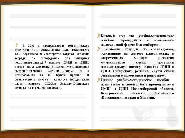 В 2006 г. преподаватели теоретического отделения Н.Л. Александрова, Ф.И. Трах...