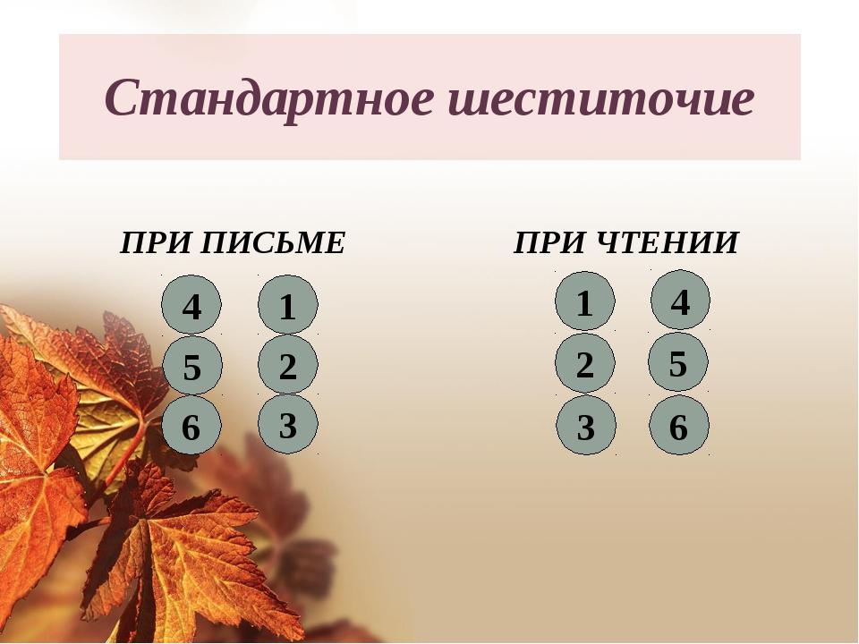 Стандартное шеститочие ПРИ ПИСЬМЕ ПРИ ЧТЕНИИ 6 3 5 2 4 1 4 3 6 2 5 1
