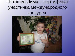 Поташев Дима – сертификат участника международного конкурса