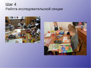 Шаг 4 Работа исследовательской секции